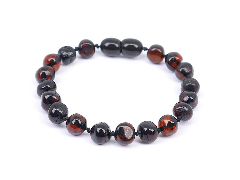 Amber teething anklet / bracelet - dark cherry baroque beads
