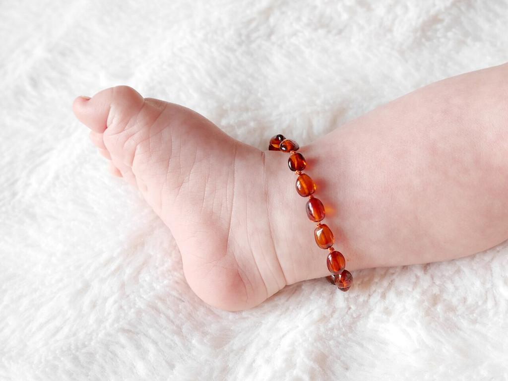 Cognac amber teething anklet