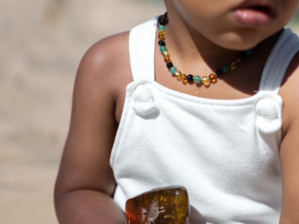 Multicoloured baroque beads amber & green aventurine teething, reflux & colic necklace