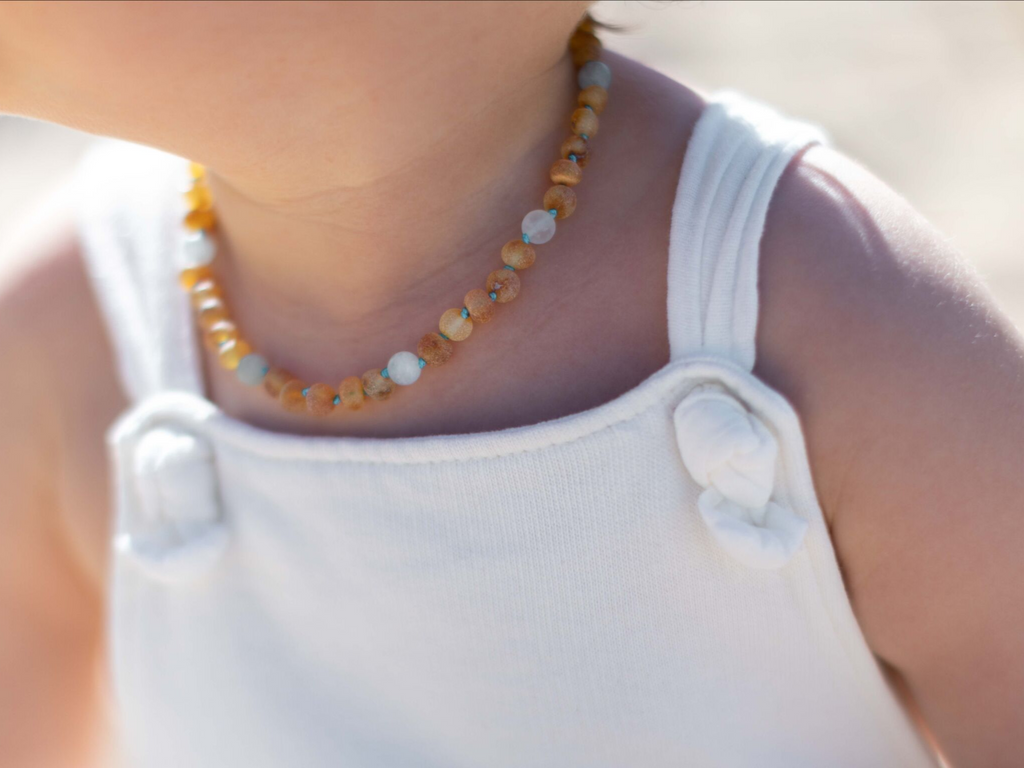 Amber teething, reflux & colic set - maximum strength raw unpolished amber beads with matte aquamarine