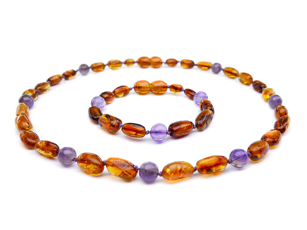 Cognac olive beads amber & amethyst teething, reflux & colic set