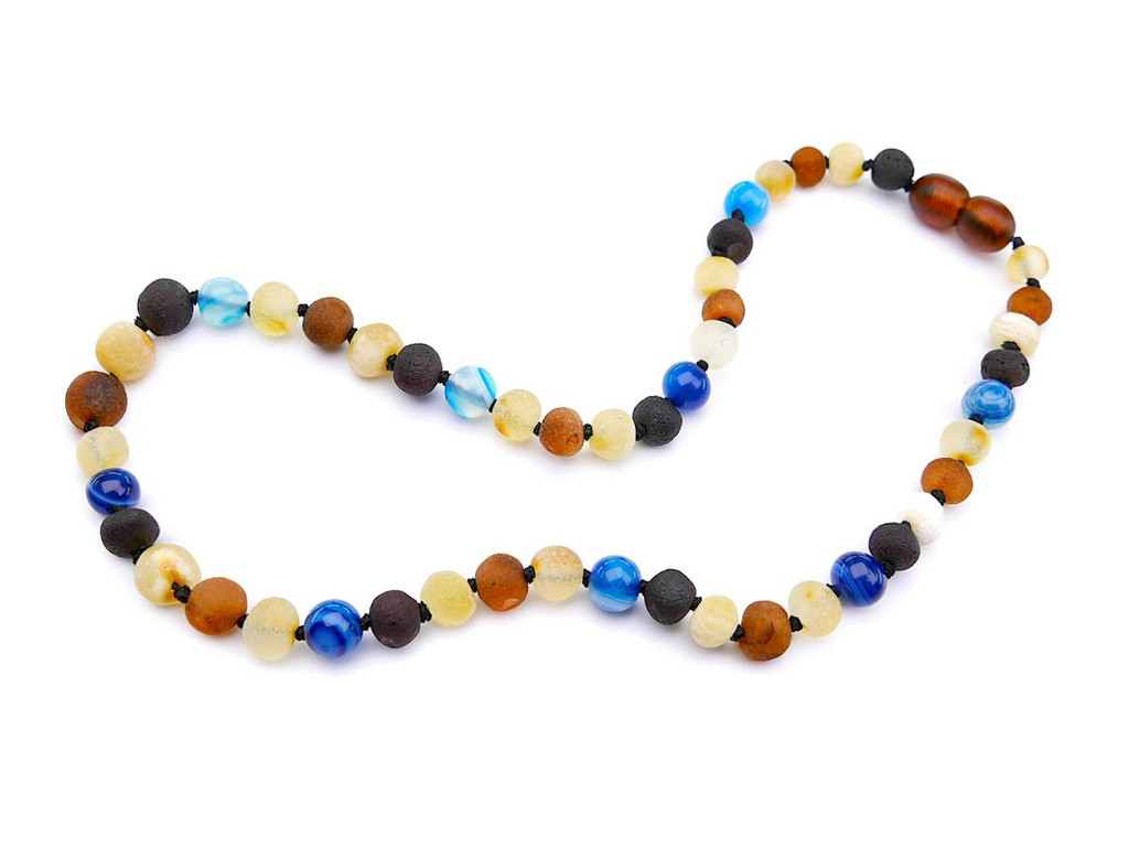 Blue agate amber teething necklace