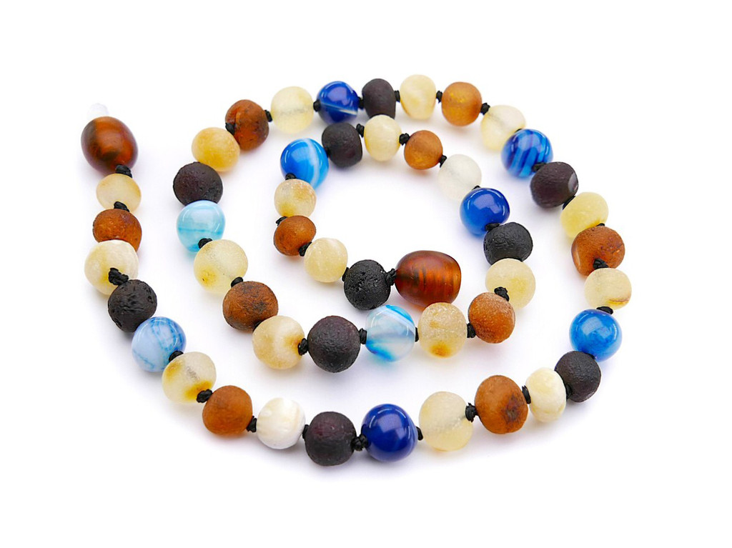 Maximum strength raw amber & blue agate teething, reflux & colic necklace