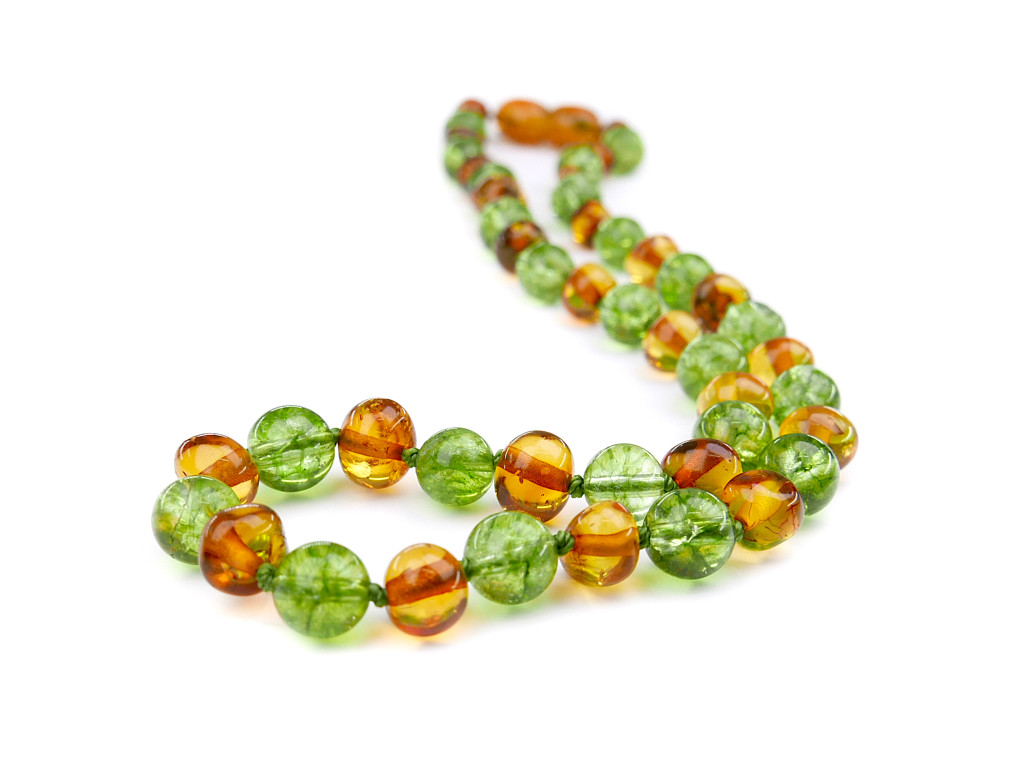 Amber teething, colic & reflux necklace  with green peridot crystal beads