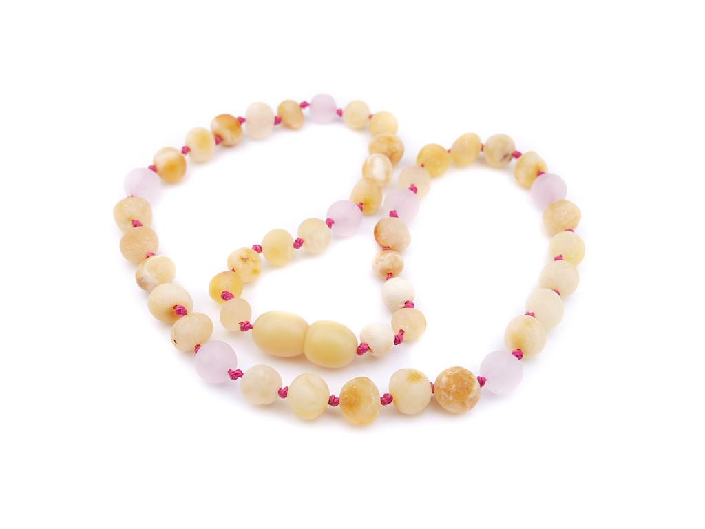 Maximum strength raw unpolished beads amber & matte pink/rose quartz teething, reflux & colic necklace