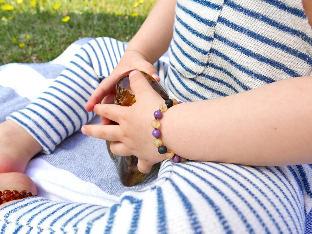 Maximum strength raw unpolished beads amber & purple phosphosiderite teething, reflux & colic anklet / bracelet