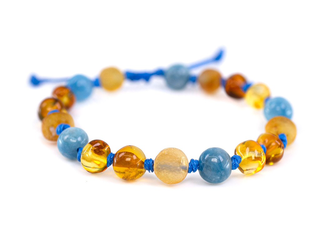 Aventurine adjustable amber teething bracelet