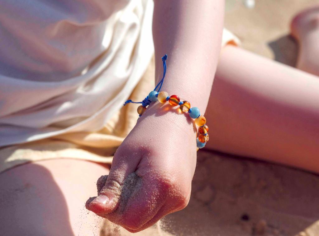 Aventurine amber teething bracelet