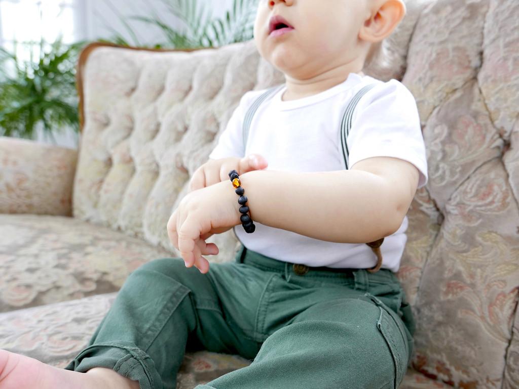 Maximum strength black / dark cherry unpolished amber teething, reflux & colic bracelet / anklet