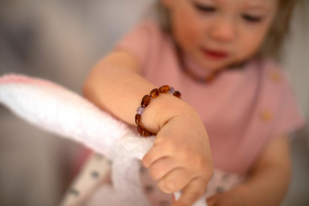 Cognac olive beads amber & amethyst teething, reflux & colic anklet / bracelet
