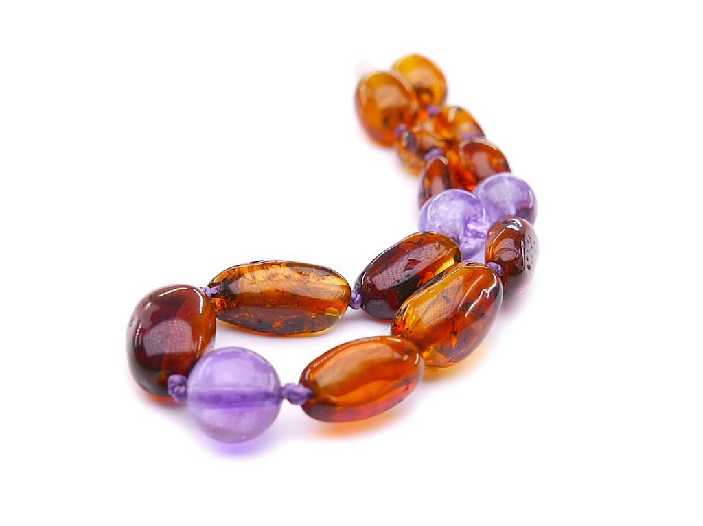 Amethyst amber teething anklet