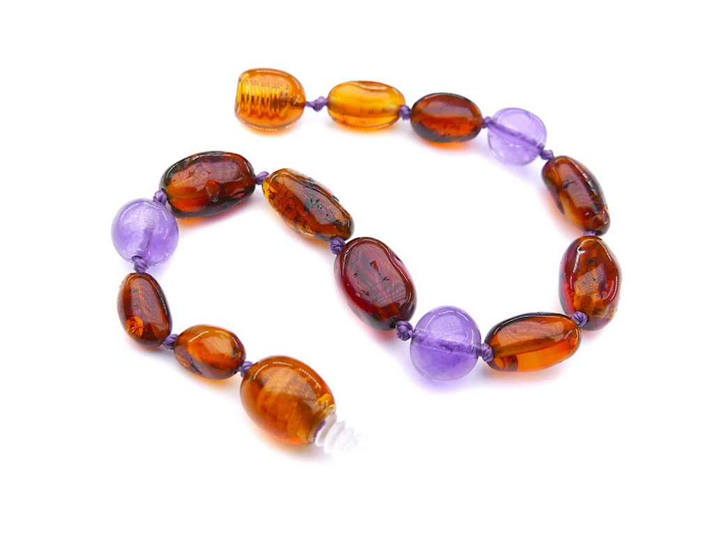 Cognac olive beads amber & amethyst teething, reflux & colic anklet / bracelet