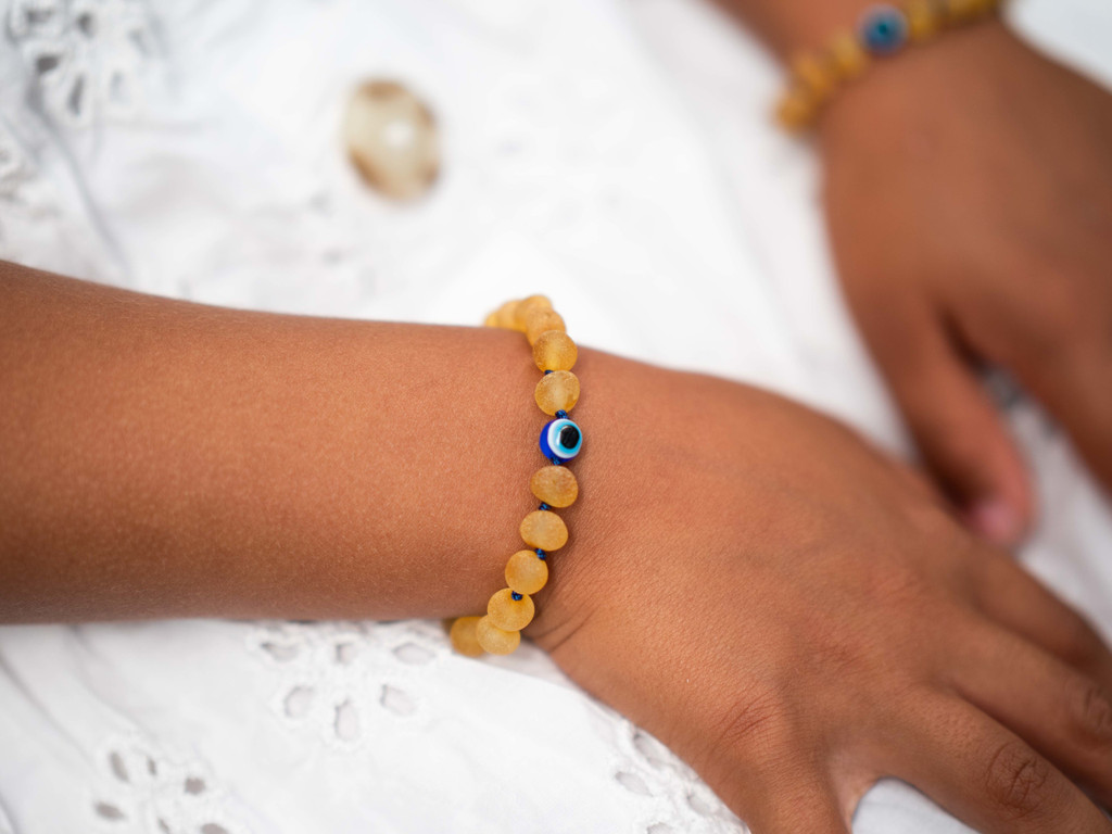 Evil Eye maximum strength unpolished beads amber teething & colic anklet / bracelet