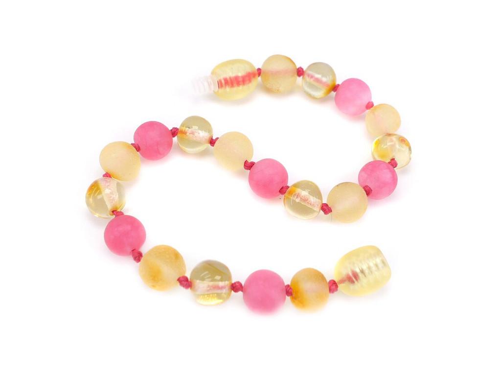 Pink amber teething bracelet
