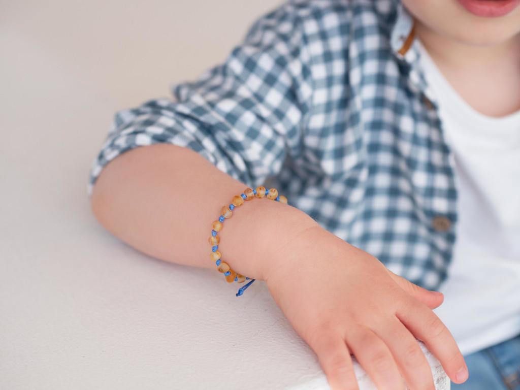Adjustable amber teething & colic anklet / bracelet - maximum strength raw unpolished beads