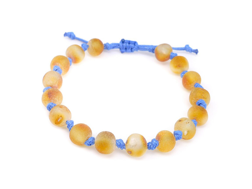 Blue adjustable amber teething bracelet