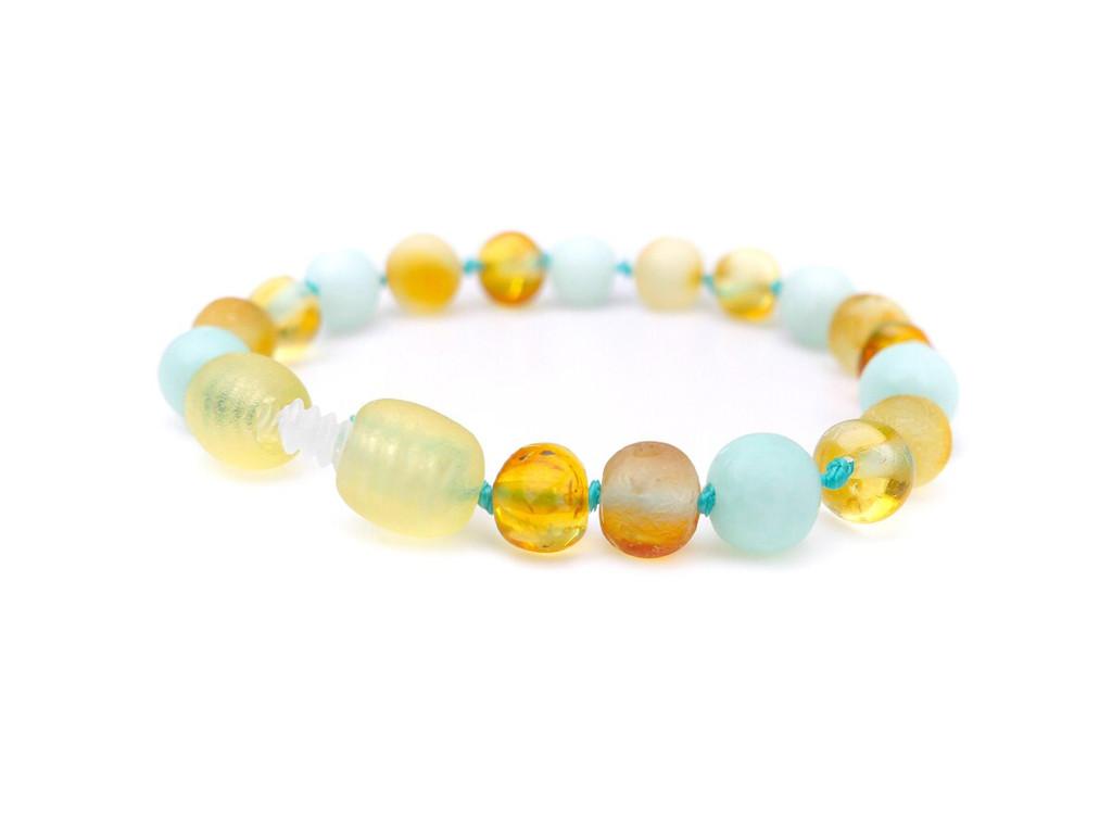Amazonite amber teething bracelet