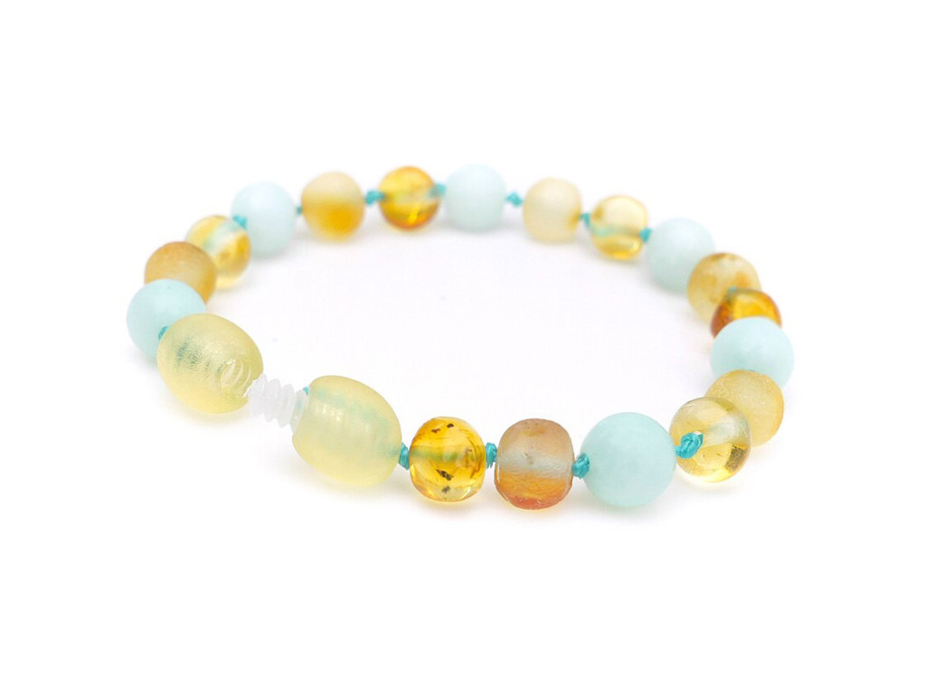 Maximum strength raw amber & blue matte amazonite, reflux & colic anklet / bracelet
