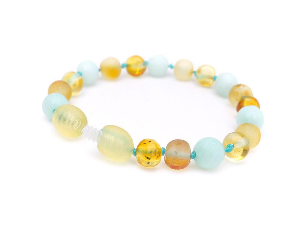 Amber teething bracelet with amazonite beads