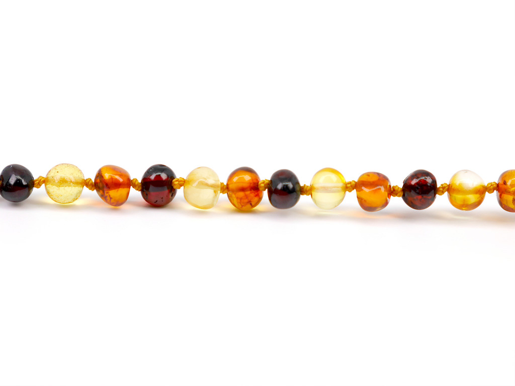 Rounded beads multicoloured amber teething anklet / bracelet