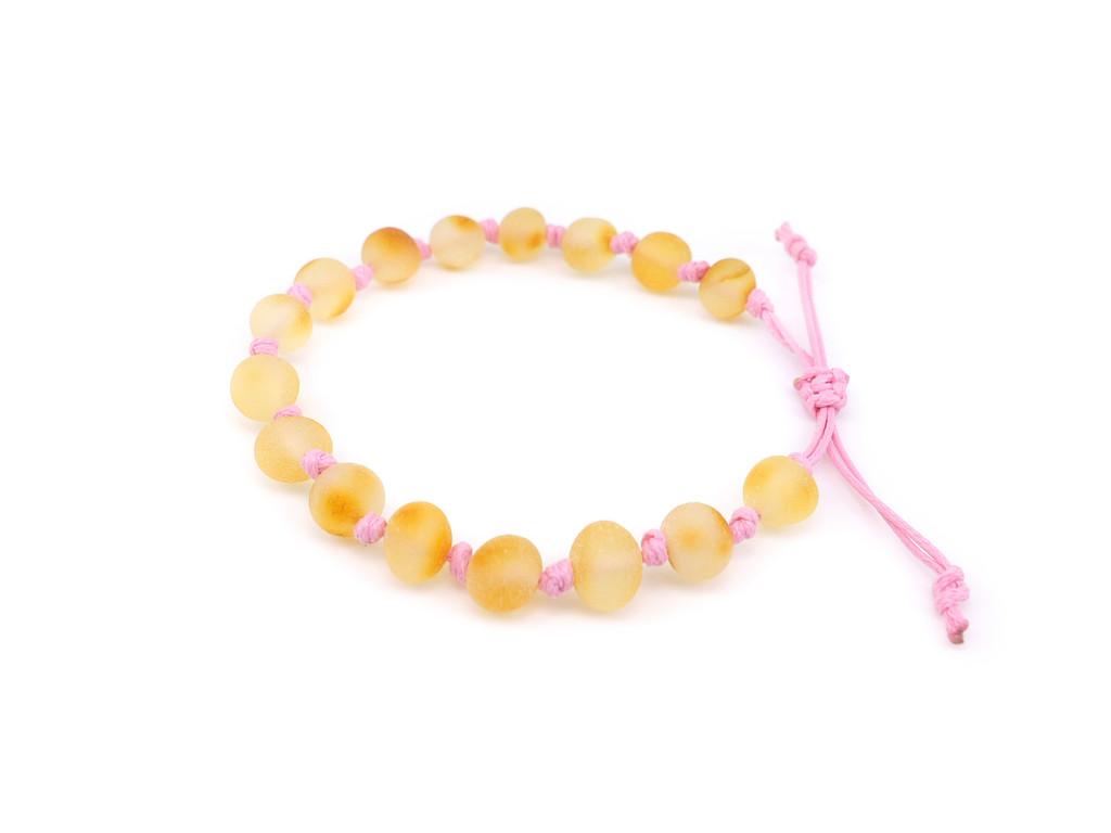 Adjustable amber teething & colic anklet / bracelet - maximum strength raw unpolished baroque beads