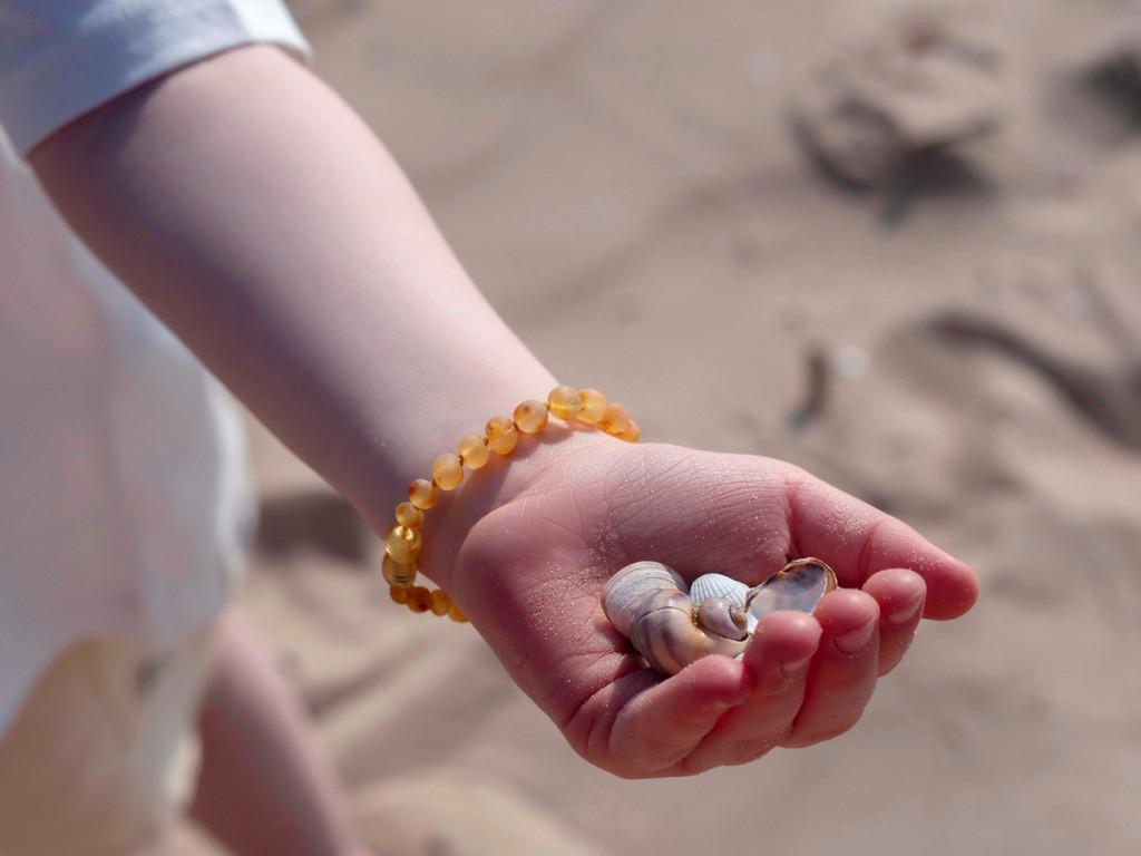 Raw honey amber teething bracelet