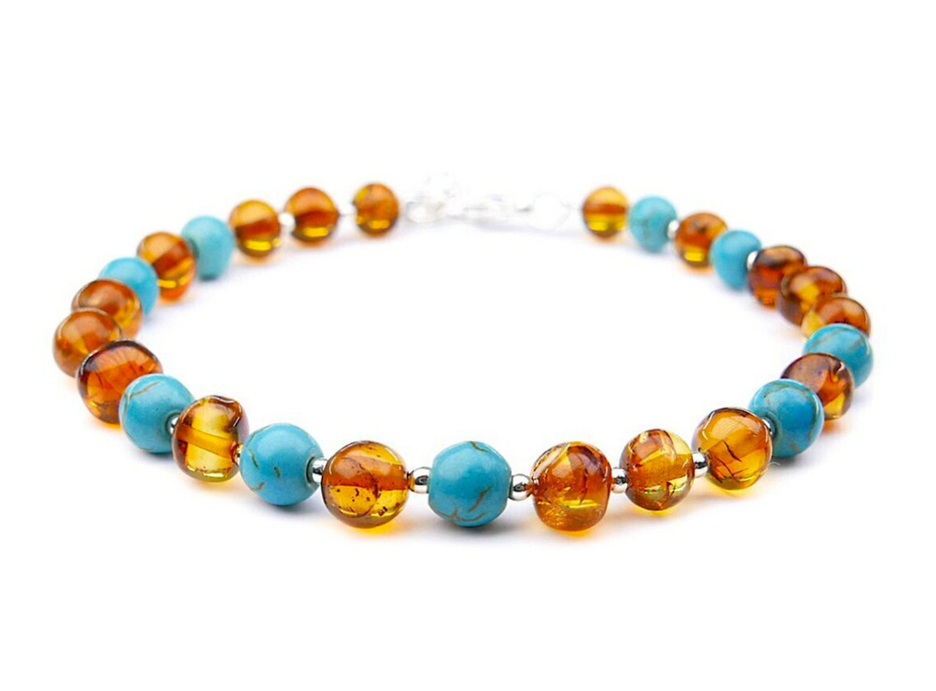 Adult amber bracelet with blue turquoise beads