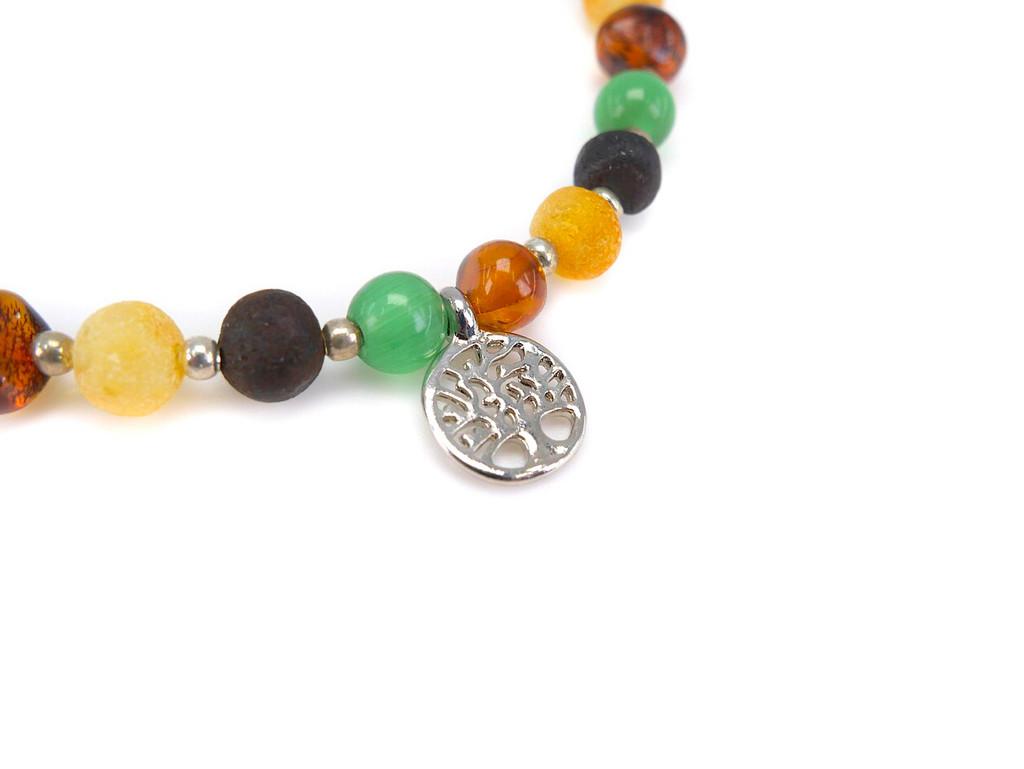 Cat eye beads adult amber bracelet
