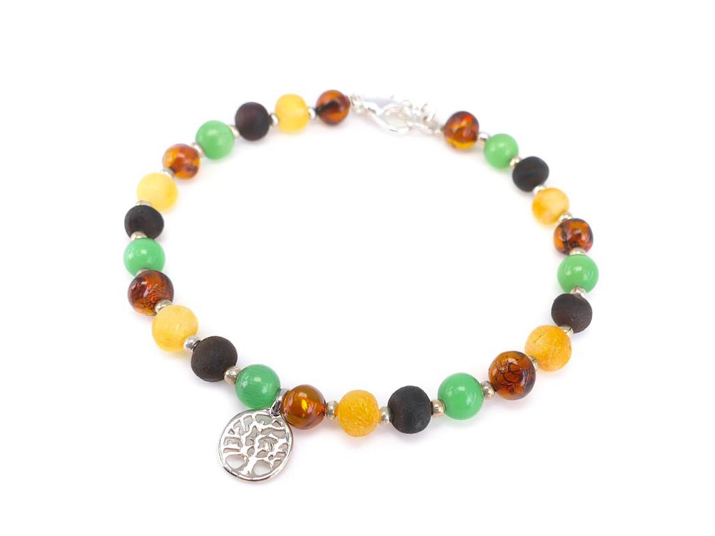 Adjustable cat eye beads adult amber bracelet
