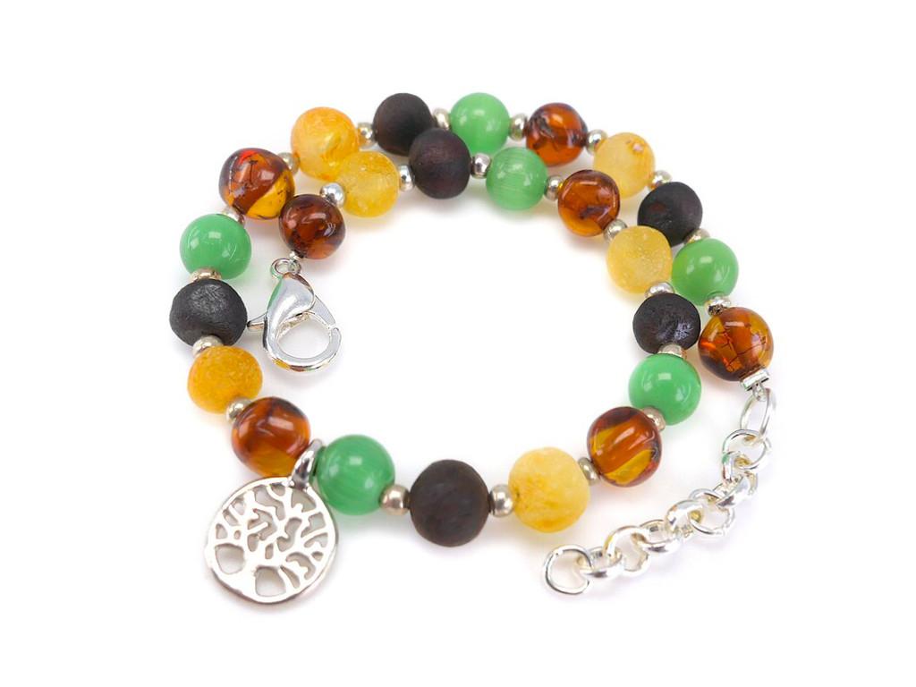 Adjustable green adult amber bracelet
