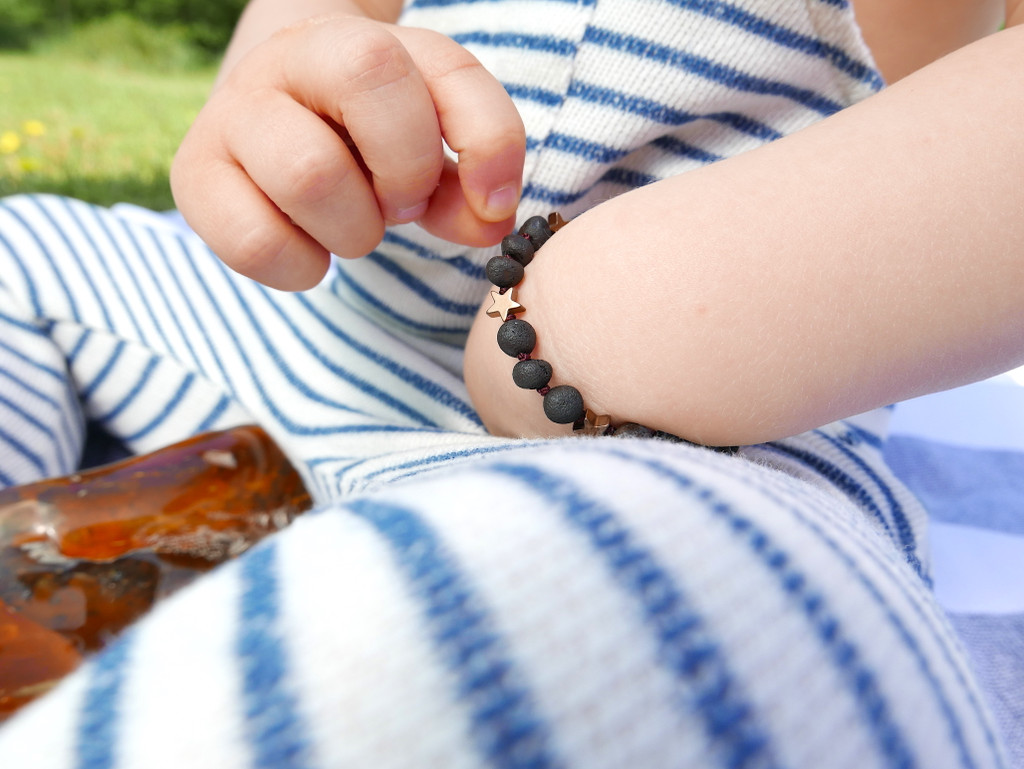 Maximum strength dark cherry raw amber & hematite beads teething, reflux & colic bracelet / anklet