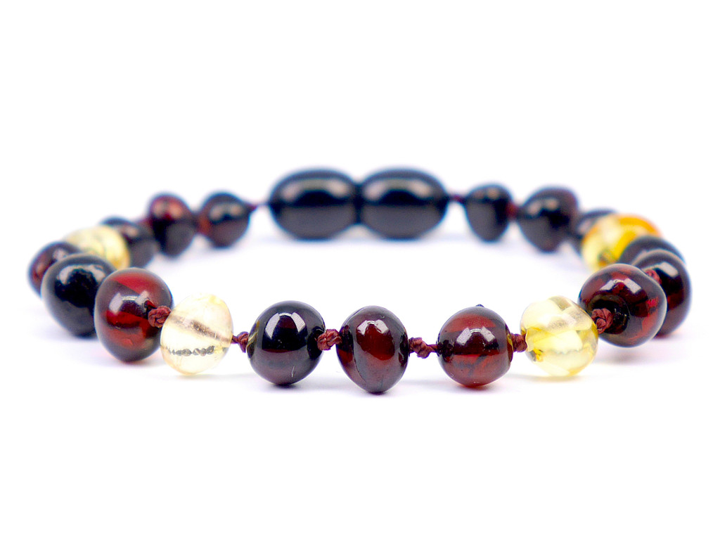 Dark cherry / lemon baroque amber teething anklet / bracelet