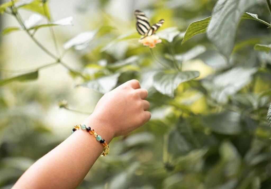 Amber teething bracelet or anklet - multicoloured amber & green aventurine