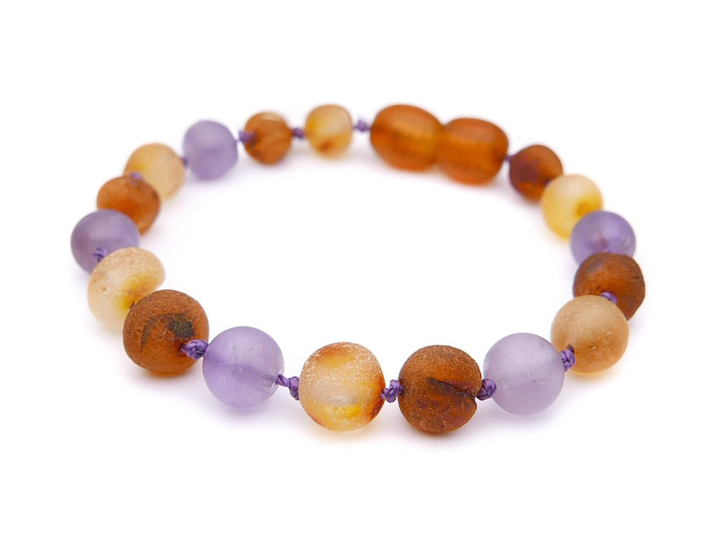 Amber teething anklet with matte amethyst