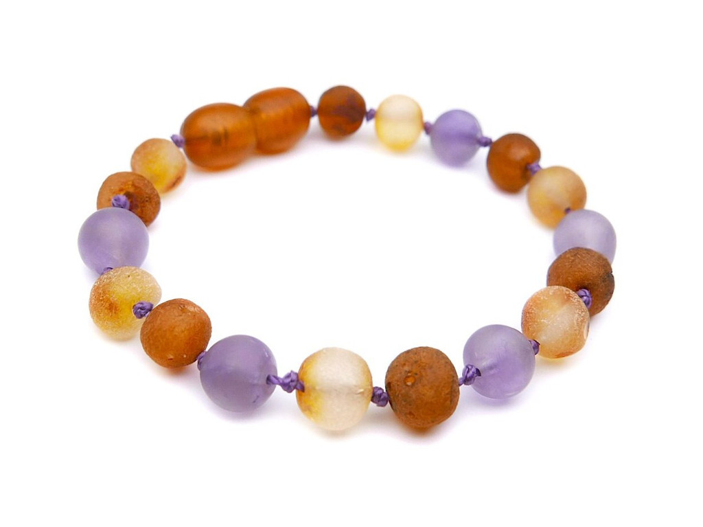 Maximum strength raw amber and matte amethyst teething, reflux and colic anklet / bracelet