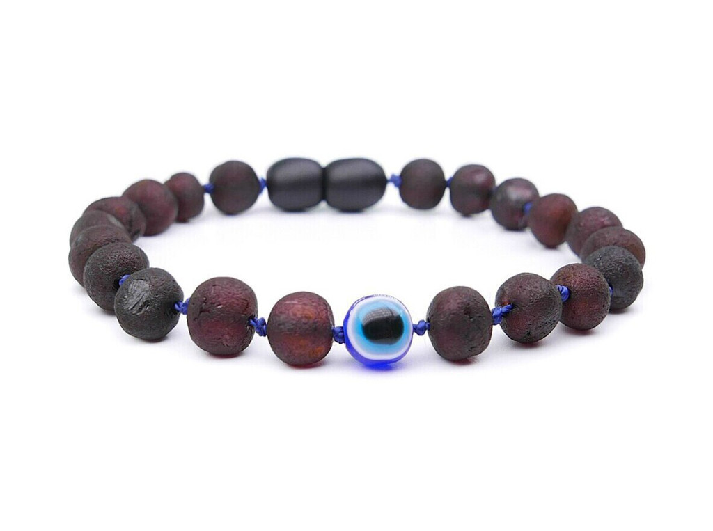 Evil Eye maximum strength dark cherry raw amber teething and colic anklet / bracelet