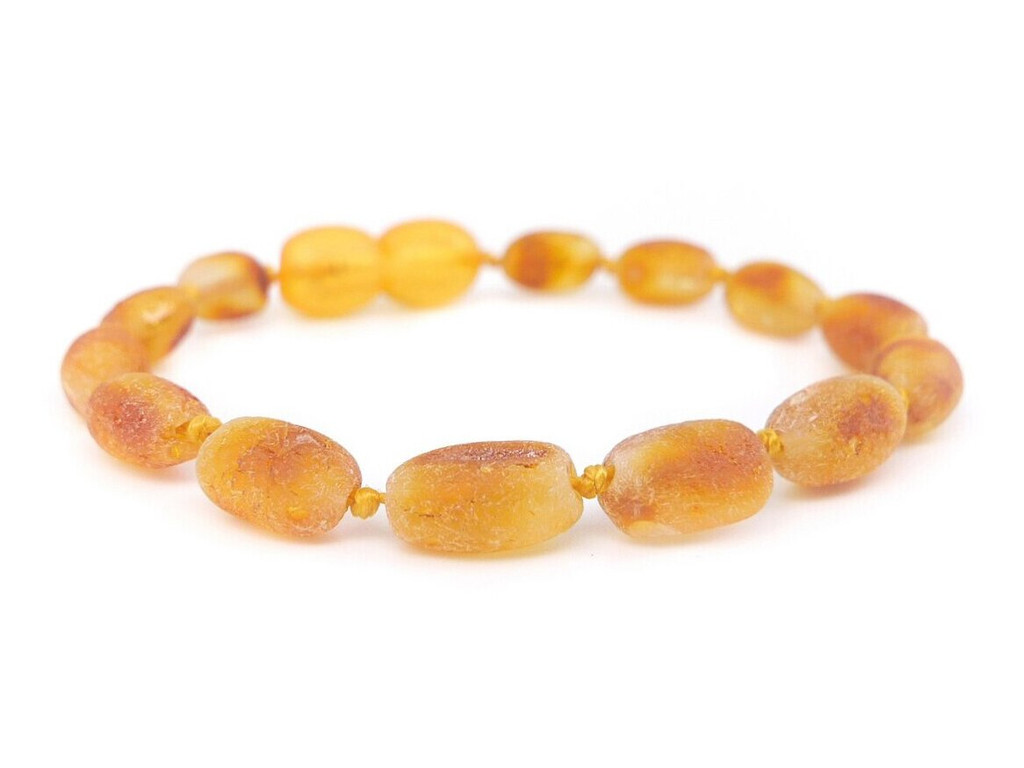 Maximum strength olive raw amber teething and colic anklet / bracelet
