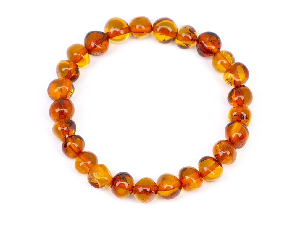 Stretch cognac amber teething anklet