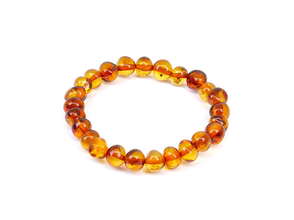 Stretch cognac baroque beads amber teething anklet