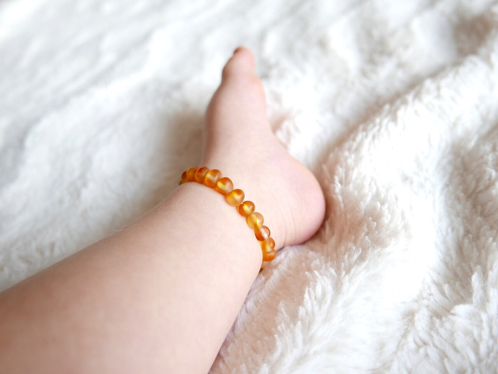 Stretch amber teething anklet, reflux and colic / maximum strength raw beads