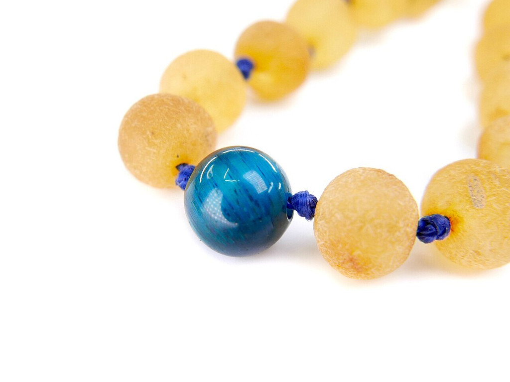 Tigers eye stone maximum strength raw amber teething and colic anklet / bracelet