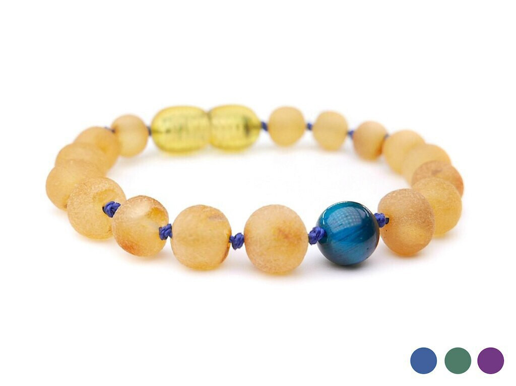 Tiger eye raw amber teething and colic anklet / bracelet