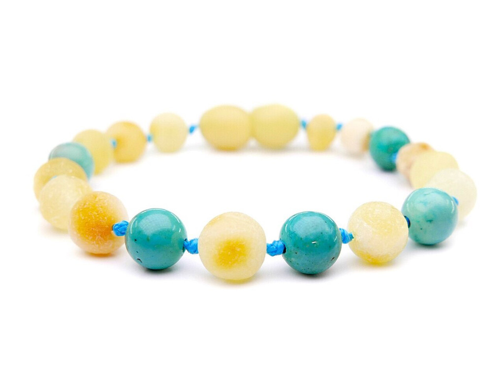 Butterscotch amber / blue turquoise teething, reflux and colic anklet / bracelet