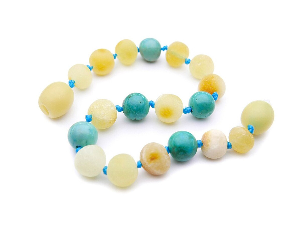 Raw butterscotch amber and blue turquoise teething, reflux and colic anklet / bracelet