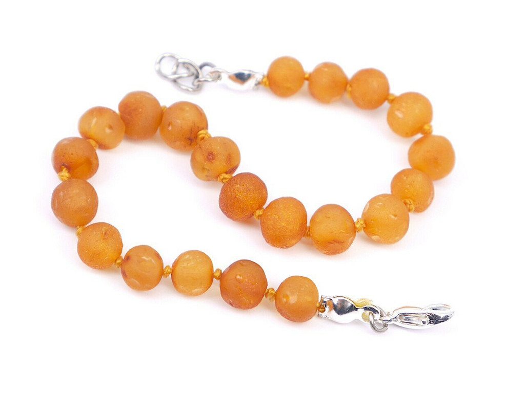 Raw adjustable amber teething bracelet