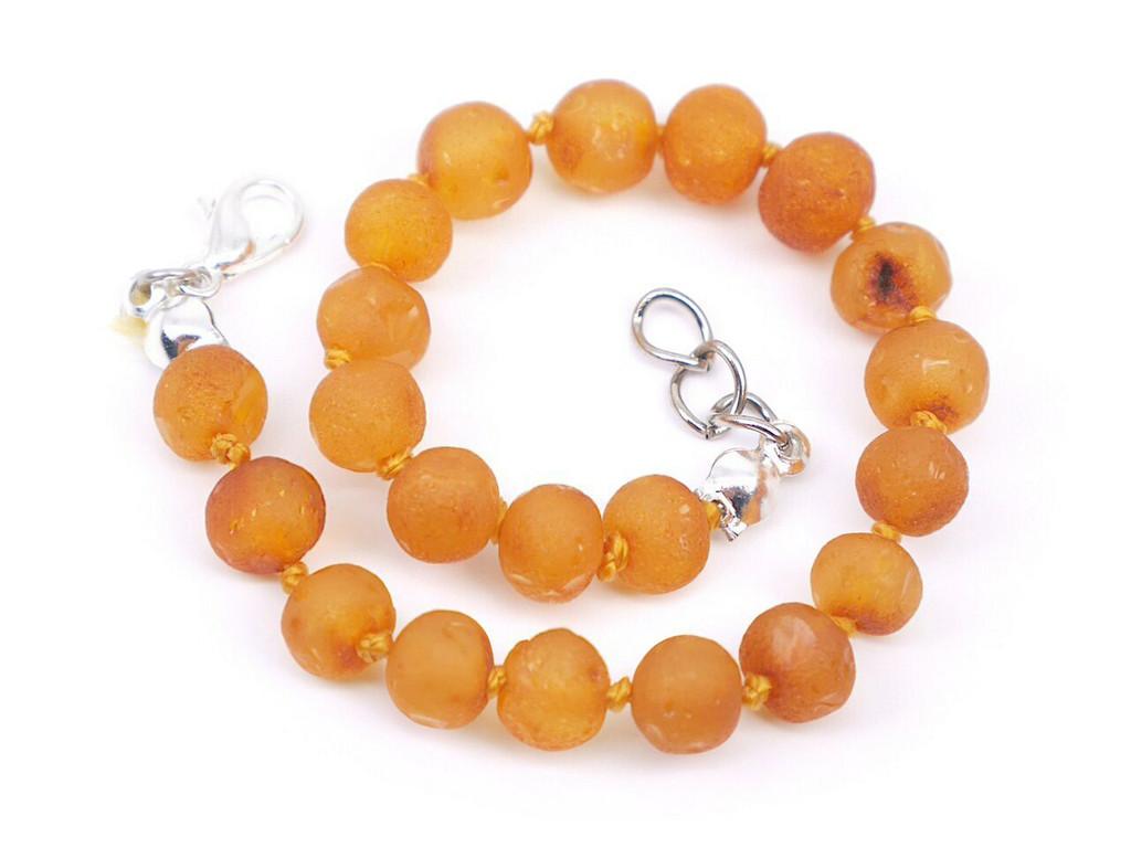 Adjustable amber teething bracelet raw unpolished beads