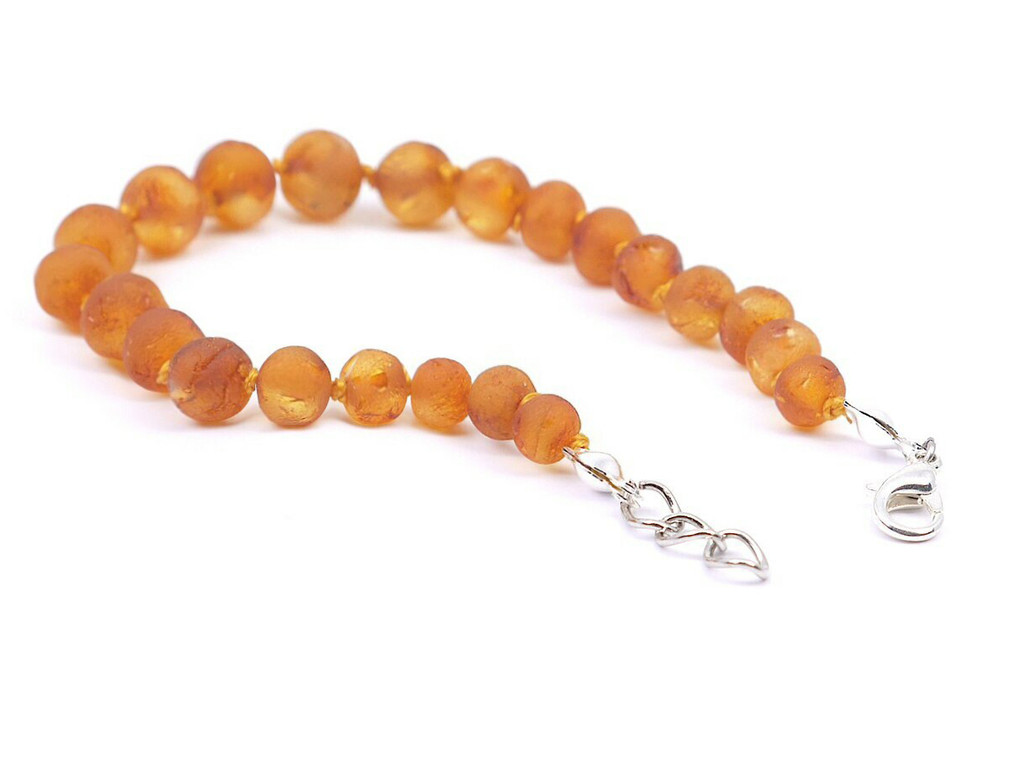 Adjustable raw amber teething bracelet or anklet