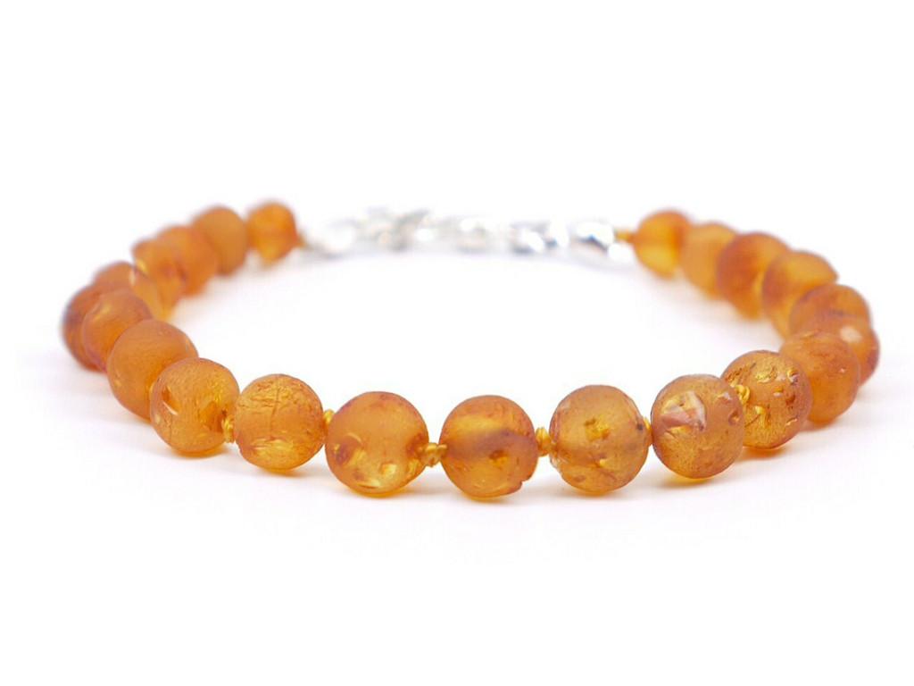 Honey amber teething bracelet raw adjustable