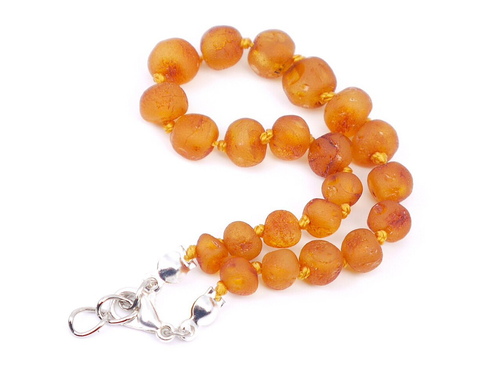 Adjustable amber teething bracelet or anklet, reflux and colic / maximum strength raw beads