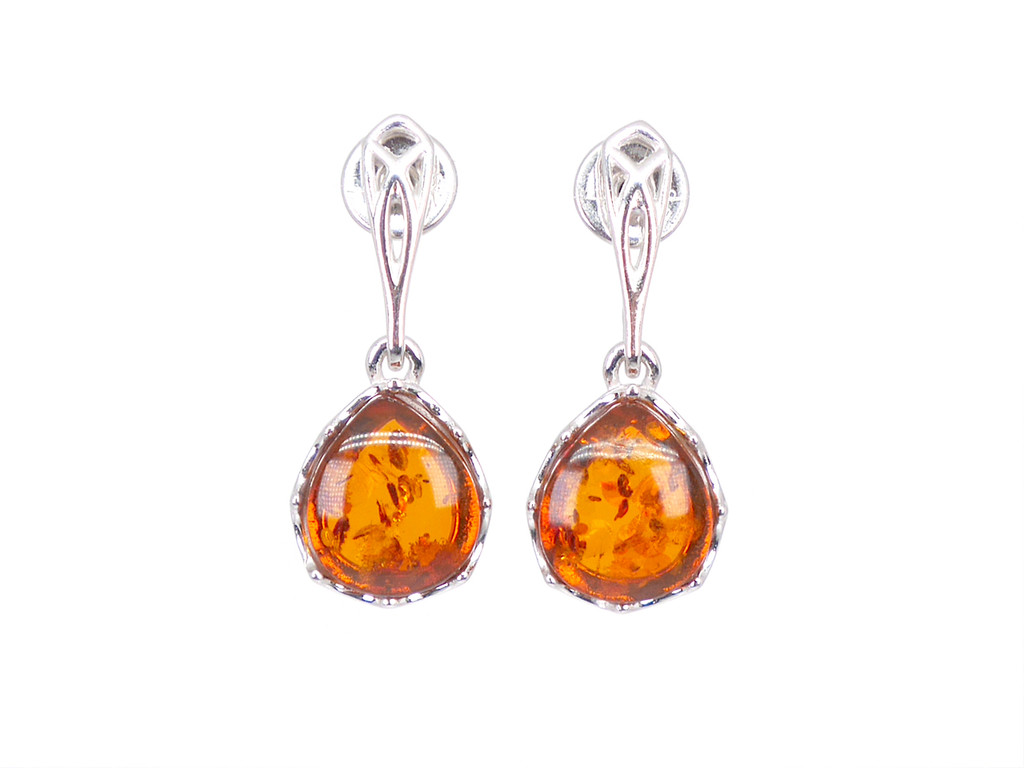 Sterling silver cognac amber filigree drop earrings